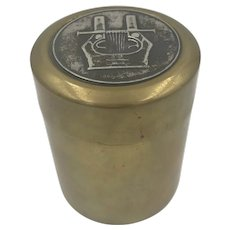 Vintage Ilias Lalaounis Cylindrical Brass Box with Sterling Silver Inset.