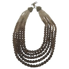 Coppola E Toppo Multi Strands Glass Beads Necklace in Shades of Smoky Brown