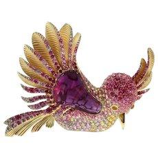 Rubelite Tourmaline 19.63 Carat Sapphires 18 Karat Yellow Gold Colibri Bird Brooch