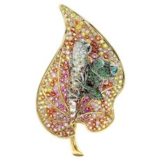 Gold Diamond Sapphire Tsavorite 18 Karat Yellow Frog on the Leaf Brooch