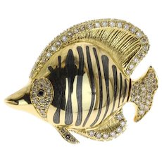 Brown Diamond, Enamel, 18 Karat Yellow Gold Angel Fish Brooch