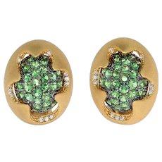 Diamonds Tsavorite 18 Karat Yellow Gold Sweet Earrings