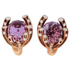 Amethyst 8.23 Carat Diamonds 18 Karat Yellow Gold Earrings