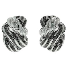 White and Black Diamonds 18 Karat White Gold Earrings