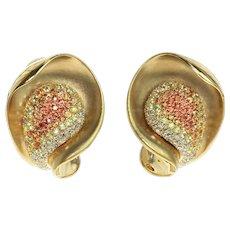Diamond Multi-Color Sapphire 18 Karat Yellow Gold Earrings