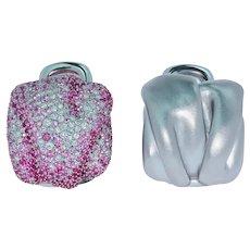 Pink Sapphires Diamonds 18 Karat White Gold Earrings