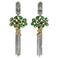 Diamond Tsavorite Ruby 18 Karat Yellow Gold Eden Tree Earrings