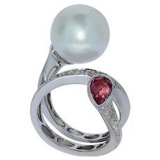 Diamonds Pink Sapphire South Sea Pearl 18 Karat White Gold Ring