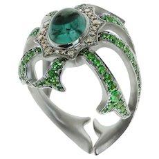 Diamond Tourmaline Tsavorite 18 Karat White Gold Ring