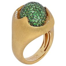 Diamonds Tsavorite 18 Karat Yellow Gold Sweet Ring