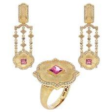 Pink Tourmaline Champagne Diamonds 18 Karat Yellow Gold Tweed Suite