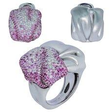 Pink Sapphires Diamonds 18 Karat White Gold Suite