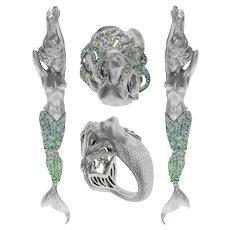 Diamond Sapphire 18 Karat White Gold Mermaid Suite