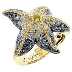 Diamonds Sapphire 18 Karat Yellow Gold Sea Star Ring
