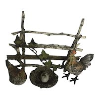 Austrian Bronze figural Group of hen and rooster in a farm yard - Circa: 1890-1910