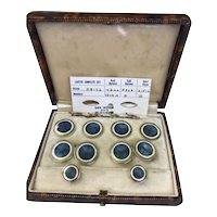 14K Gold and guilloche enamel Boxed Dress Set