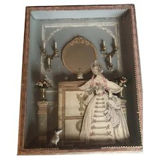 Amazing  Antique Scrap Decorative Decoupaged Box mid 20th Century