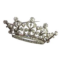 Platinum/Gold Diamond & Pearl crown Broach