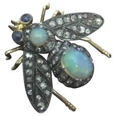 Art Nouveau reticulated Opal & Diamond  Bee Pin