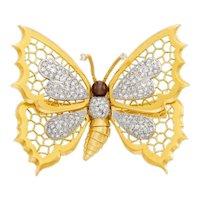 'En Tremblant' 14K Gold Butterfly Broach