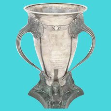 Sterling Silver Egyptian Revival 3 Handled Trophy  Cup
