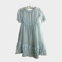 Antique Edwardian Sea Foam Green Girls Dress