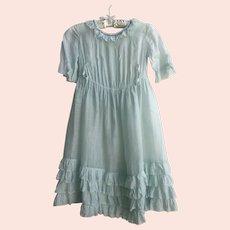 Antique Edwardian Sea Foam Green Girls Dress