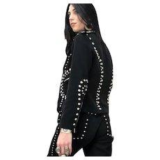 Vintage 1970s Roncelli 2 pc. Black Denim Studded Pant Suit / Kate Moss Rocker Coachella / / Size M