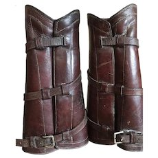 Vintage Spats / Brown Leather Half Chaps / Shinguards / Gaiters / Calvary Equestrian