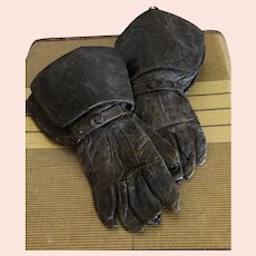 Antique Gauntlets / Men's Leather Gauntlets / Historical Clothing / Costume Gloves / Size M
