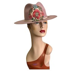 Fabulous Soft Pink Cowboy Hat / Felt Hat / Antique Embellishment / Western Hat / Size 22 3/4""