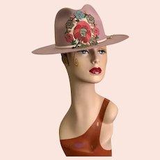 """Fabulous Soft Pink Cowboy Hat / Felt Hat / Antique Embellishment / Western Hat / Size 22 3/4"""""""