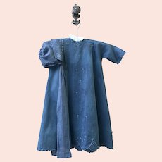 Antique French Hand Embroidered 'Indigo Blue' Baby Dress