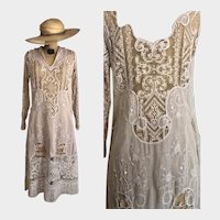 Exquisite Antique Edwardian Dress / Embroidered Dress / 1910s / Lace / Bridal / Cotton Gauze Muslin /Size S