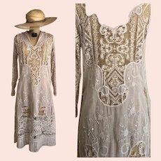 Exquisite Antique Edwardian Dress / Embroidered Dress / 1910s / Lace / Bridal / Cotton Gauze Muslin /Size S