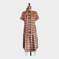 Oscar de La Renta Silk Dress / Designer Vintage / Silk Geometric Print / Mod / 60's / Size M/L