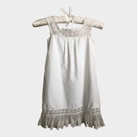 Antique Edwardian Cotton and Lace Little Girls Slip Dress