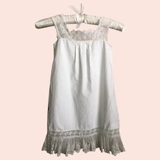 Antique Edwardian Cotton and Lace Little Girls Slip Dress