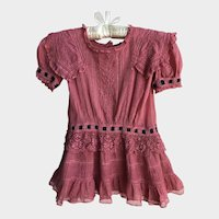 Rare Antique Edwardian 'Raspberry Dream' Girls Dress
