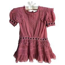 Rare Antique Edwardian 'Raspberry Dream' Girls Dress