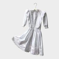 Antique 1910's White Cotton Edwardian Girls Dress