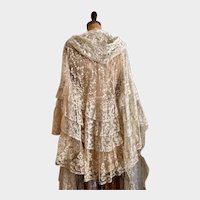 Exquisite Antique Dress 1840's Brussels Lace Wedding Cape