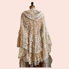 Exquisite Antique Dress 1840's Brussels Lace Wedding Cape