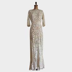 Elaborate Antique Lace Wedding Gown