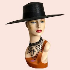 Antique Black Straw Hat Edwardian Hat Kentucky Derby