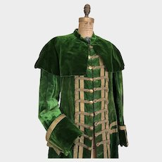 Antique Theatre Costume Green Velvet Jacket Gentleman's 19th Century Jacket