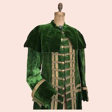 Antique Theatre Costume Green Velvet Jacket Gentleman's 19th Century Jacket