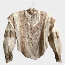 Antique 1890's Victorian Net Lace and Silk Bodice Blouse