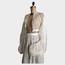 Rare Antique Civil War Period Net Lace Blouse