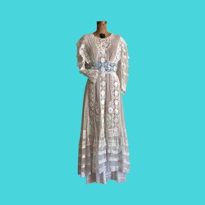 Antique Edwardian Wedding Dress Antique Lace Dress Restored